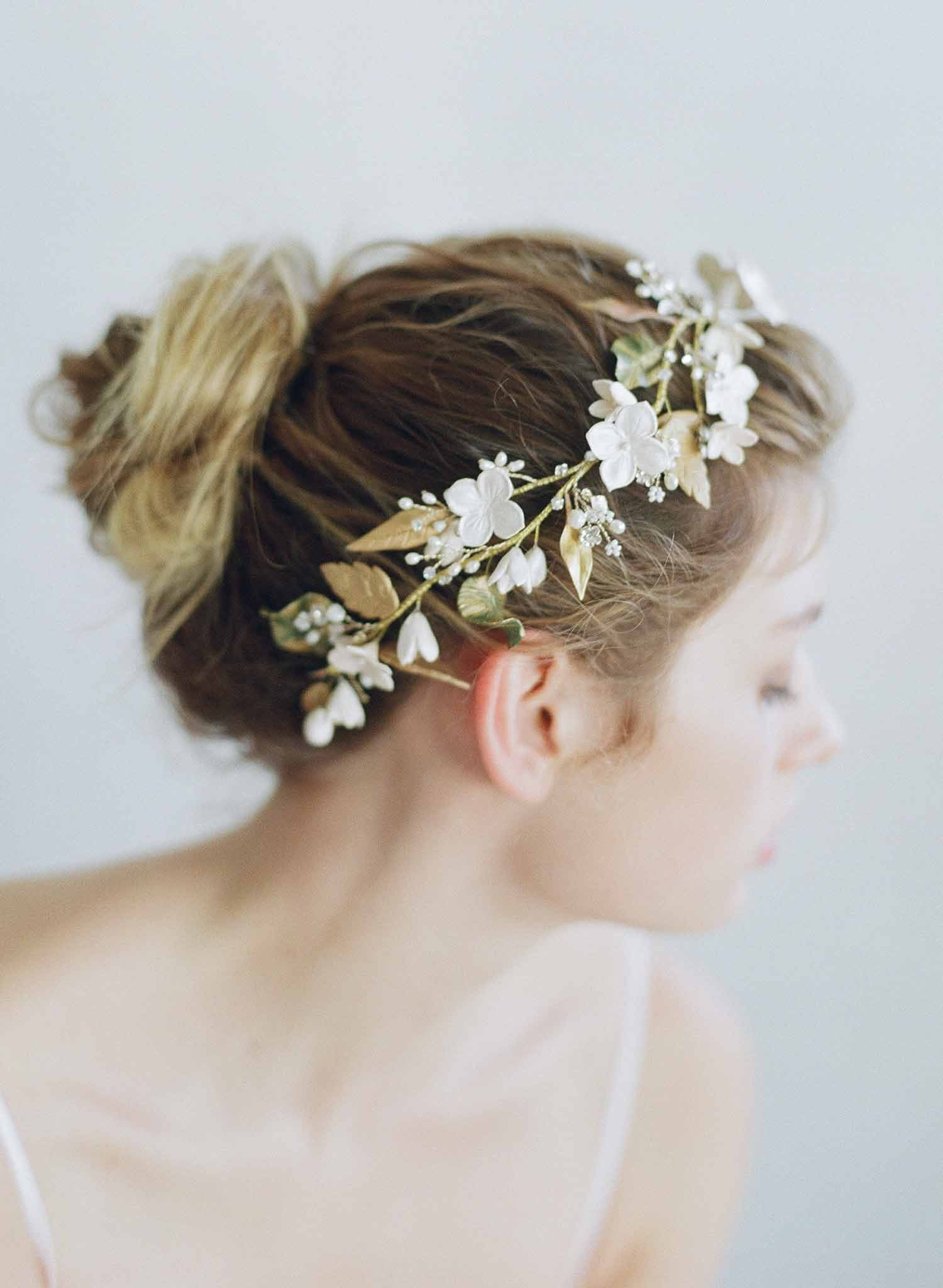 Floral garden headpiece, clay flowers by Twigs and Honey