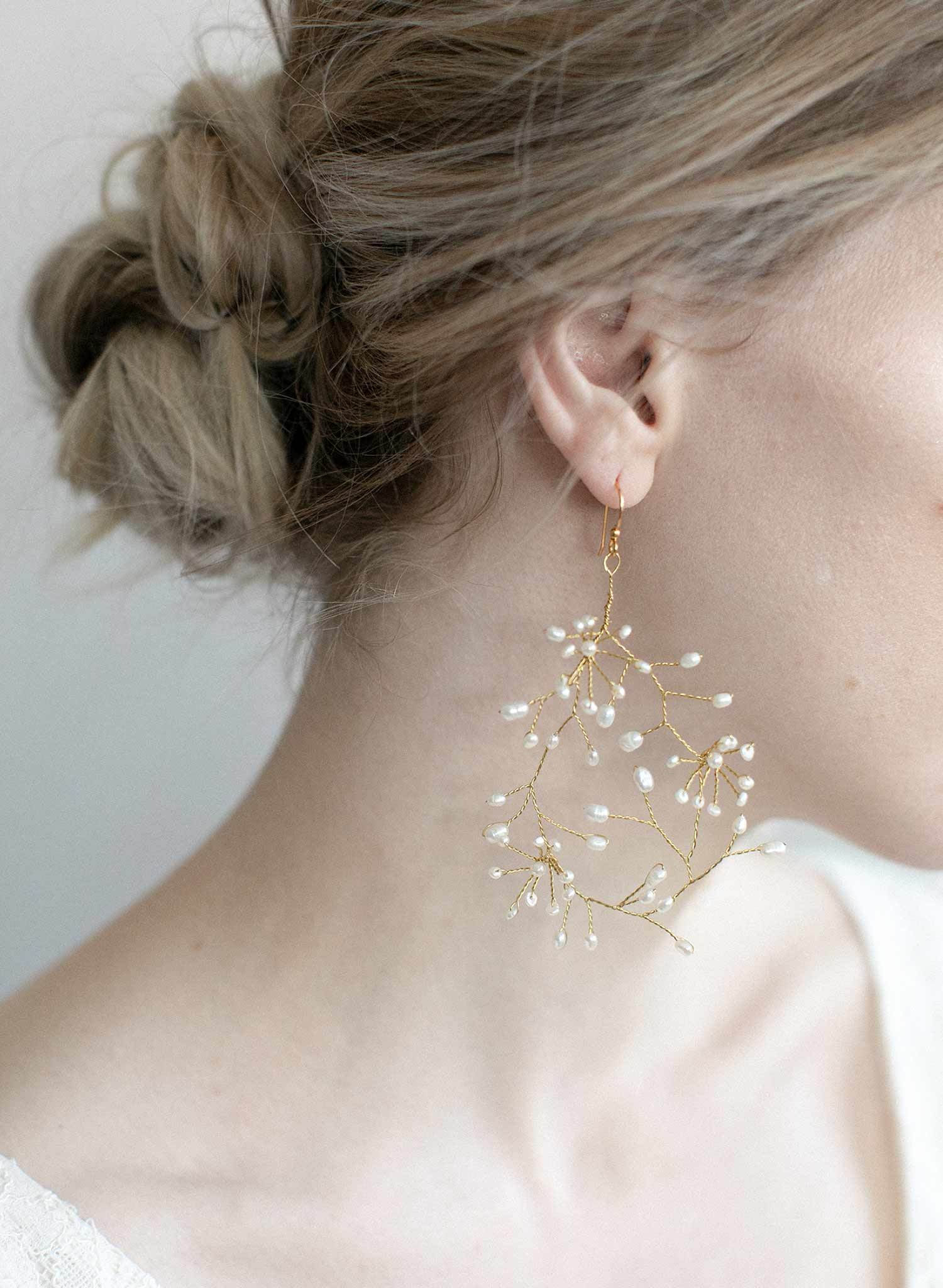 bridal breathless freshwater pearl earrings by Twigs & Honey