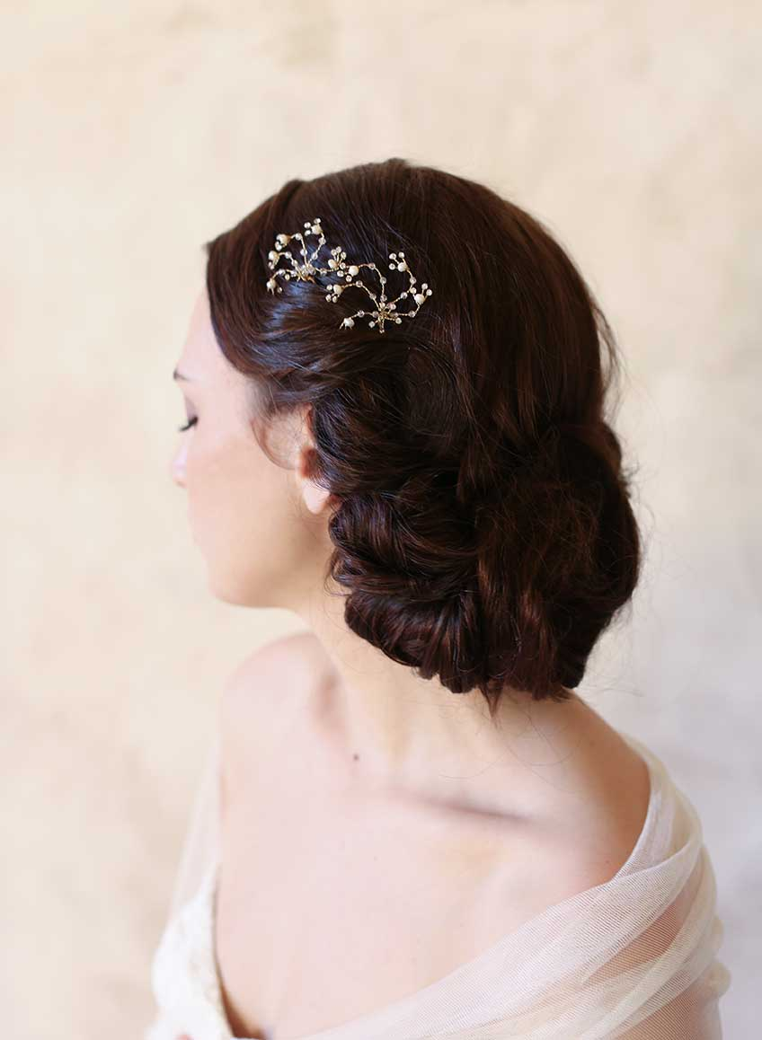bridal hair pins, crystal and pearl