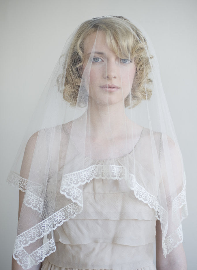 Silk tulle with lace trim veil in ivory - Style # 053