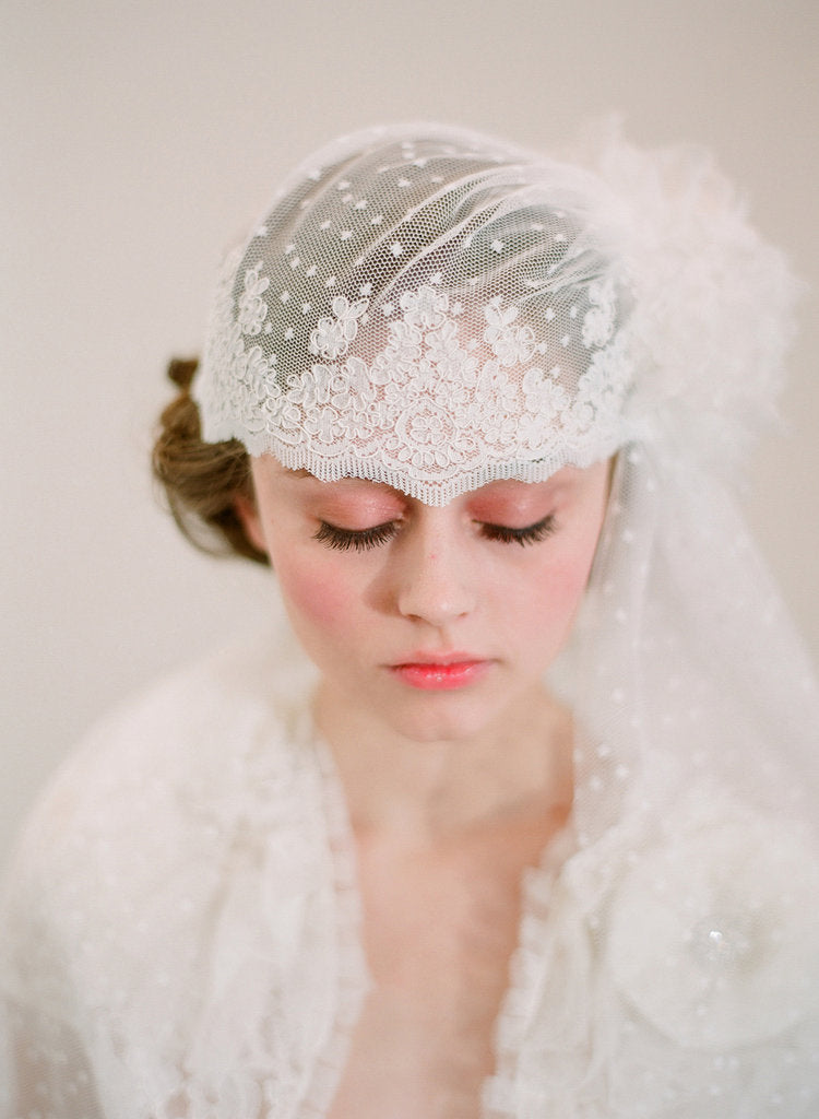 bridal cap veil, dot lace, lace trim, silk flower, vintage inspired