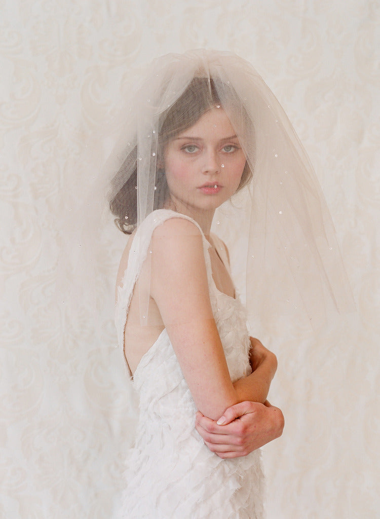 tulle veil with blusher, wedding veil