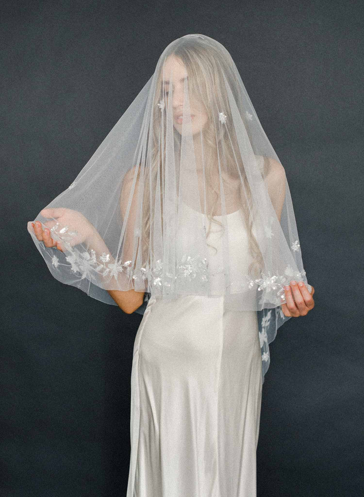 shimmer bridal veil, beaded, weddings, twigs and honey