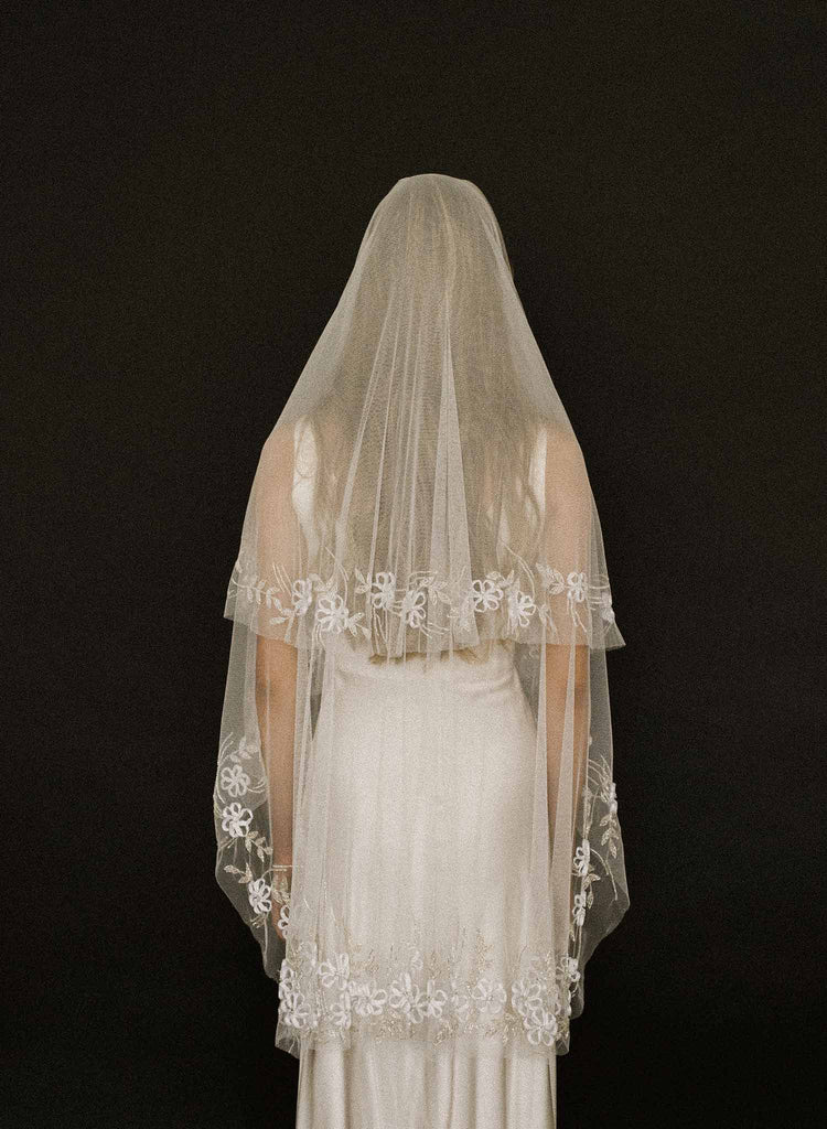 ribbon and bead embroidery veil, weddings, bridal, twigs and honey