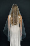 bridal crystal opal veil, hairstyle, wedding veil, twigs and honey