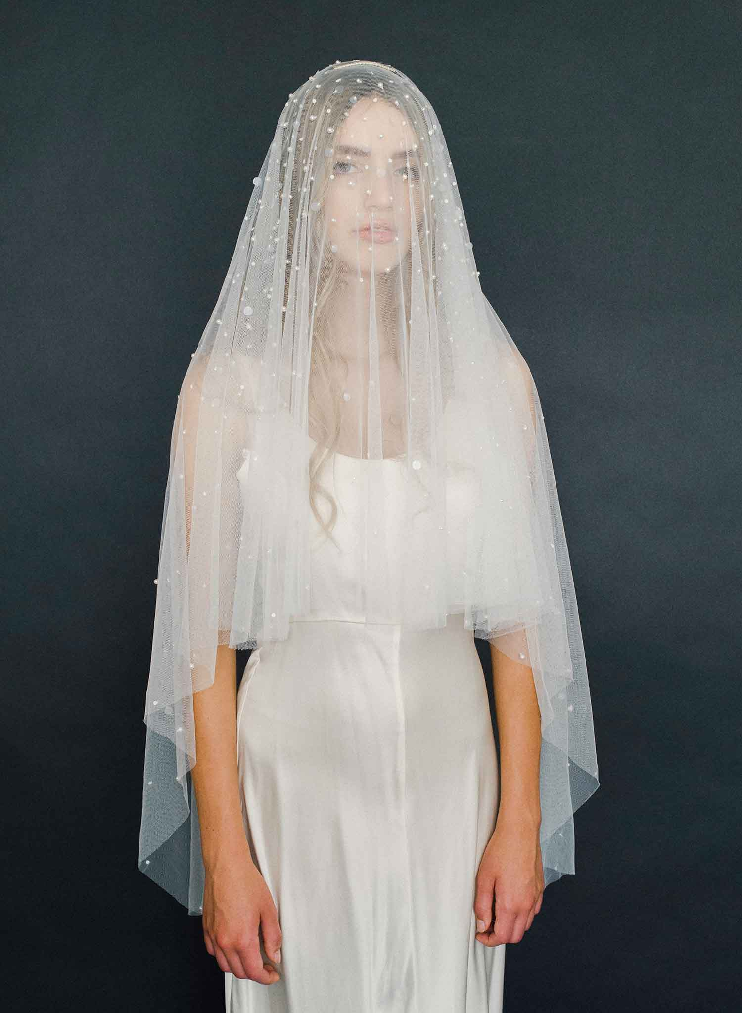 Dainty pearl and sequin fantasy veil - Style #2008