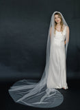 bridal train veil, lightweight, tulle, wedding veil, twigs and hone