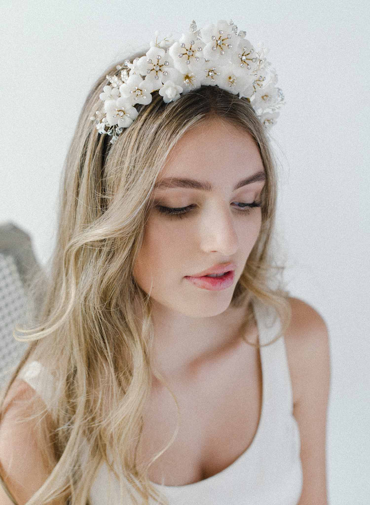 bridal crown, tiara of flowers, crystals, twigs & honey headband