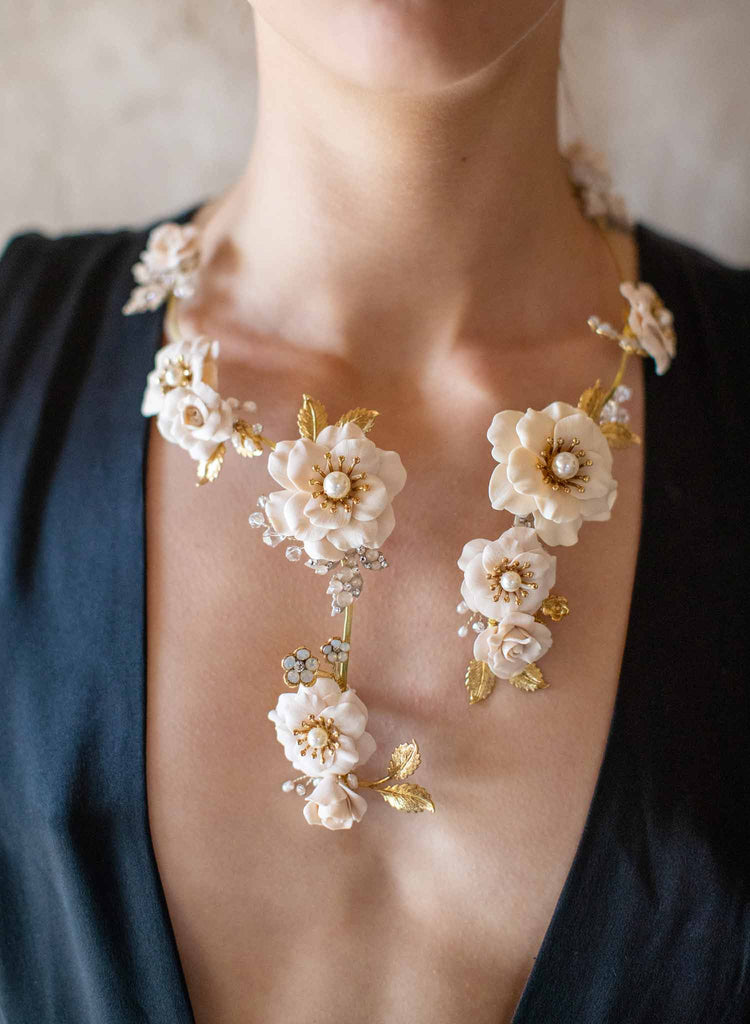 Garden rose bridal necklace - Style #2013