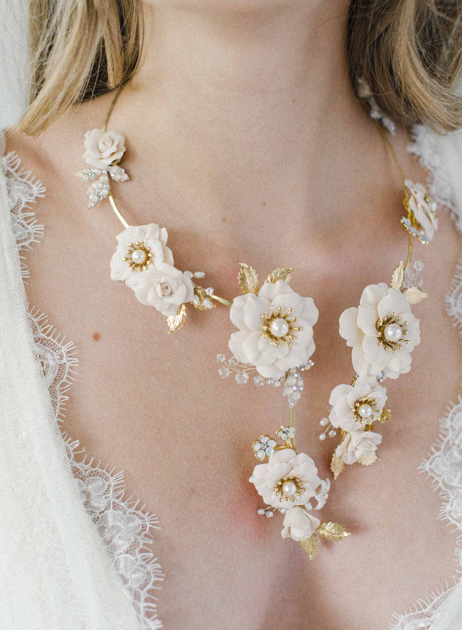 Bridal Garden Flower Necklace Jewelry Garden Rose Bridal