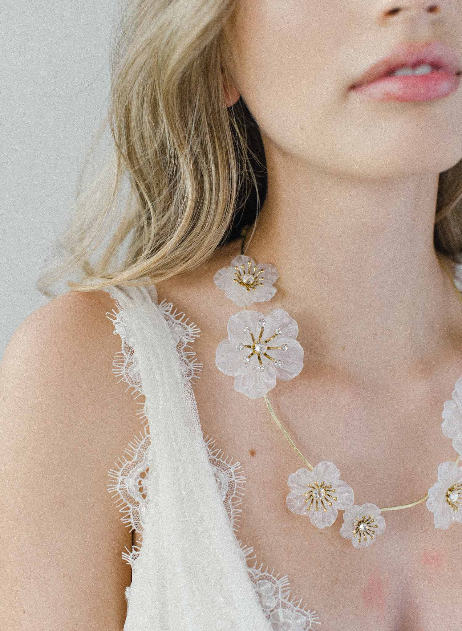 Milk glass florals necklace - Style #2014
