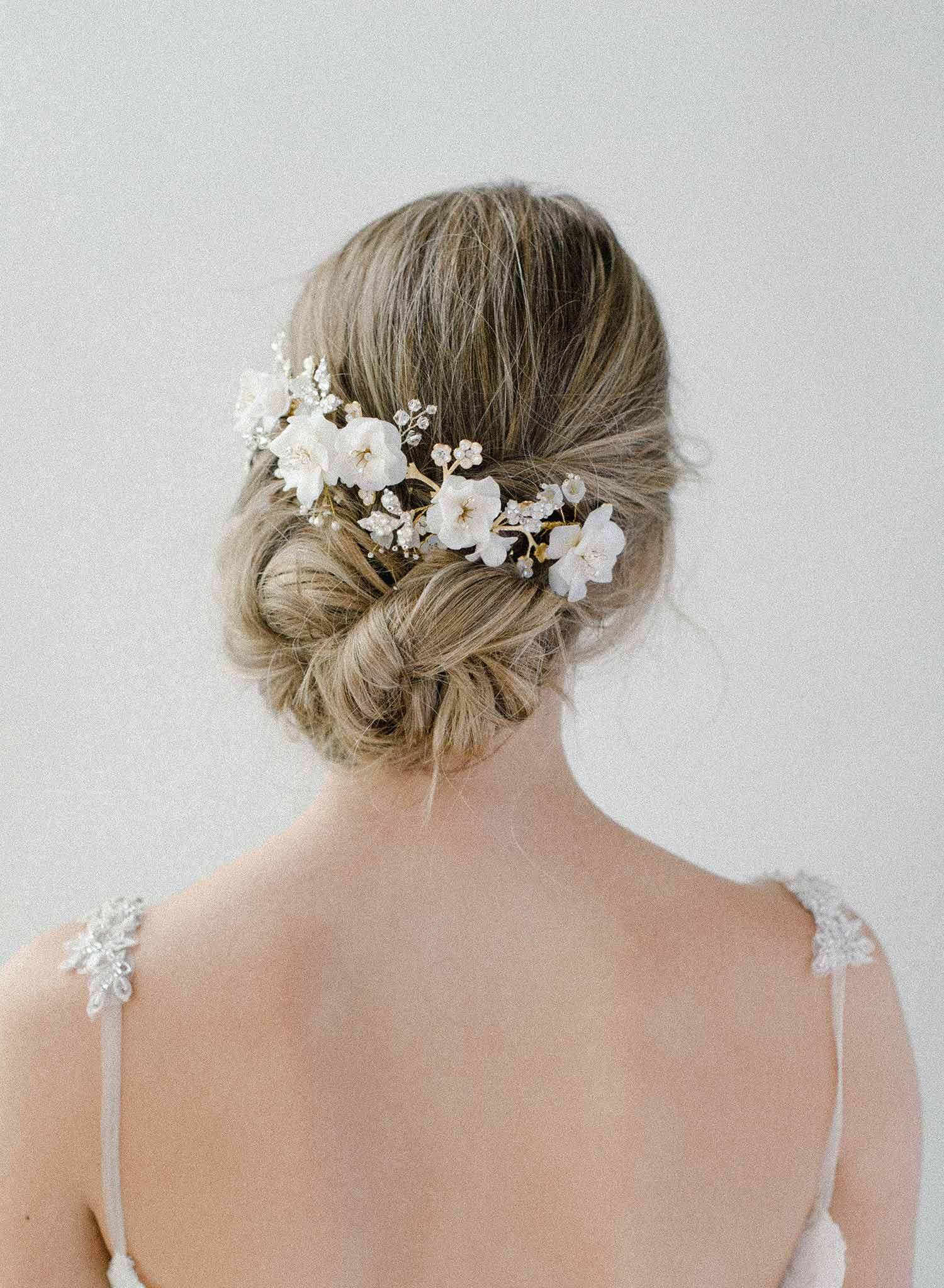 Milk white flower and opal headpiece - Style #2018