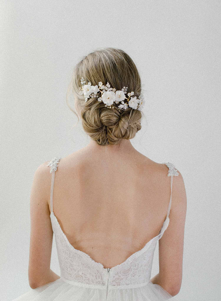 bridal white floral and opal crystal headpiece, twigs & honey