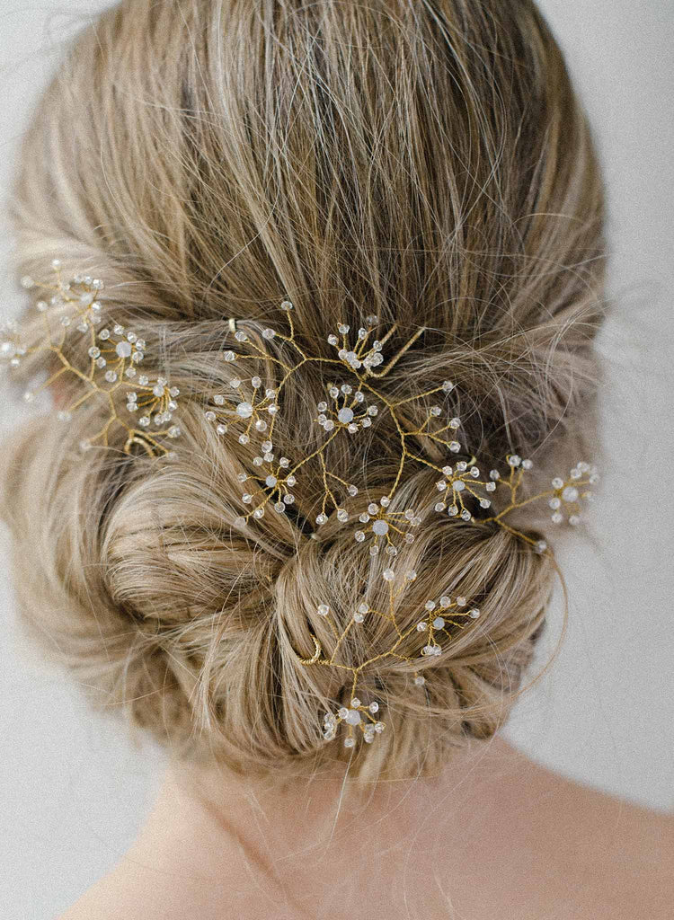 crystal baby's breath hairpin bridal set, wedding, florals, twigs and honey