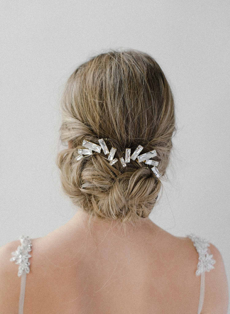 crystal confetti hair comb, bridal headpiece, wedding hairstyle, twigs and honey