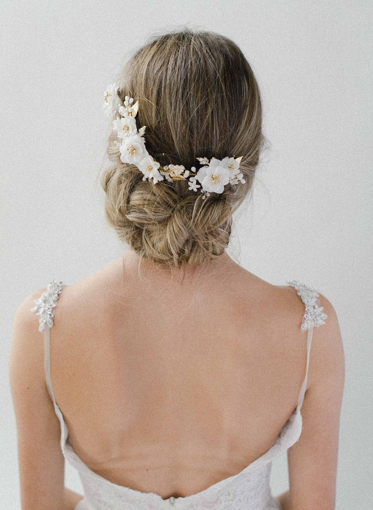 handmade floral vine, headpiece, white, bridal, wedding, hair, twigs & honey