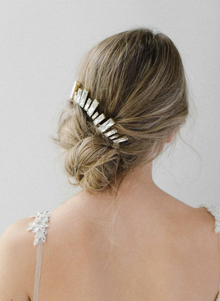 bridal crystal modern skyline comb, swarovski baguette, twigs & honey