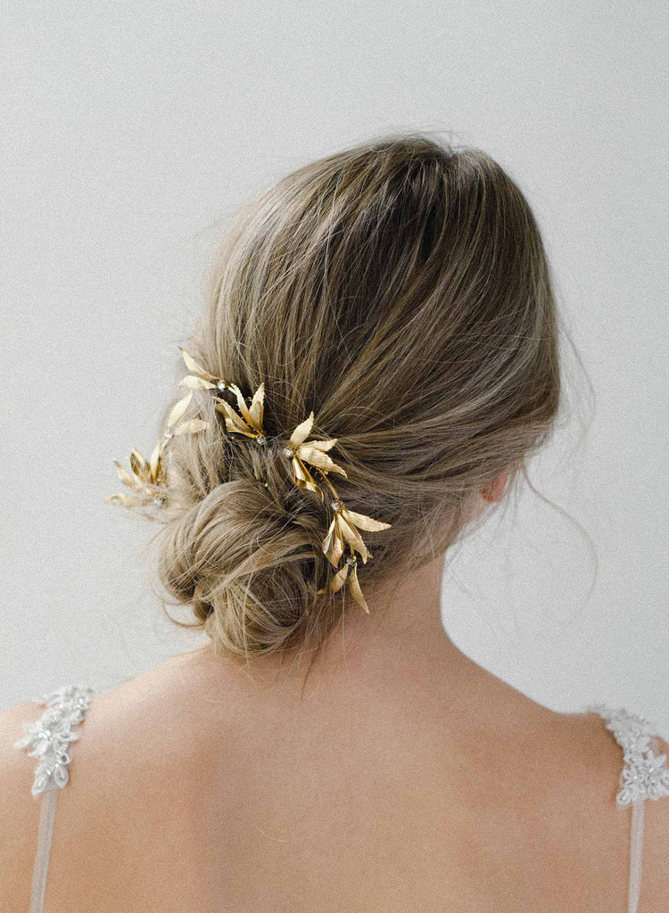 grecian inspired gold wing hairpin and comb set of 3, twigs & honey