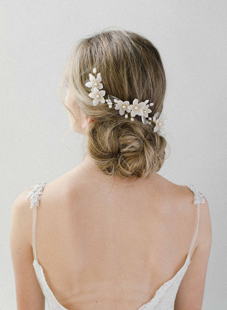 bridal pearl headpiece, crystals, twigs & honey