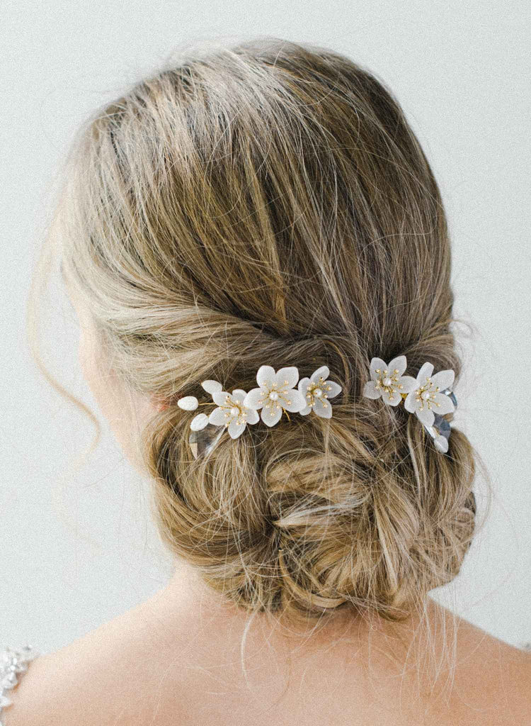 Pearlescent florals and crystal hair comb set of 2 - Style #2028
