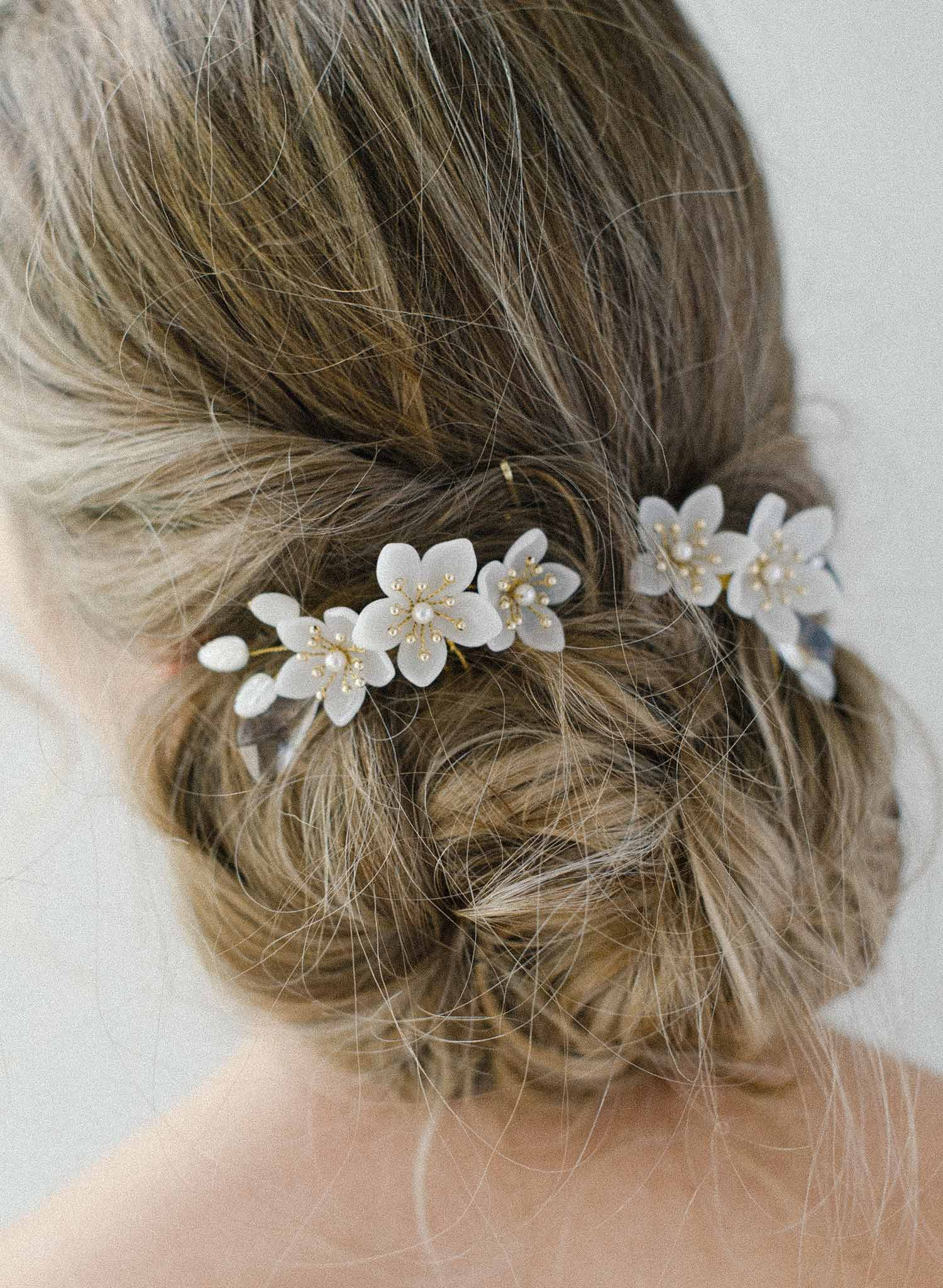 Crystal Round Pearl Floral Mesh Hair Comb