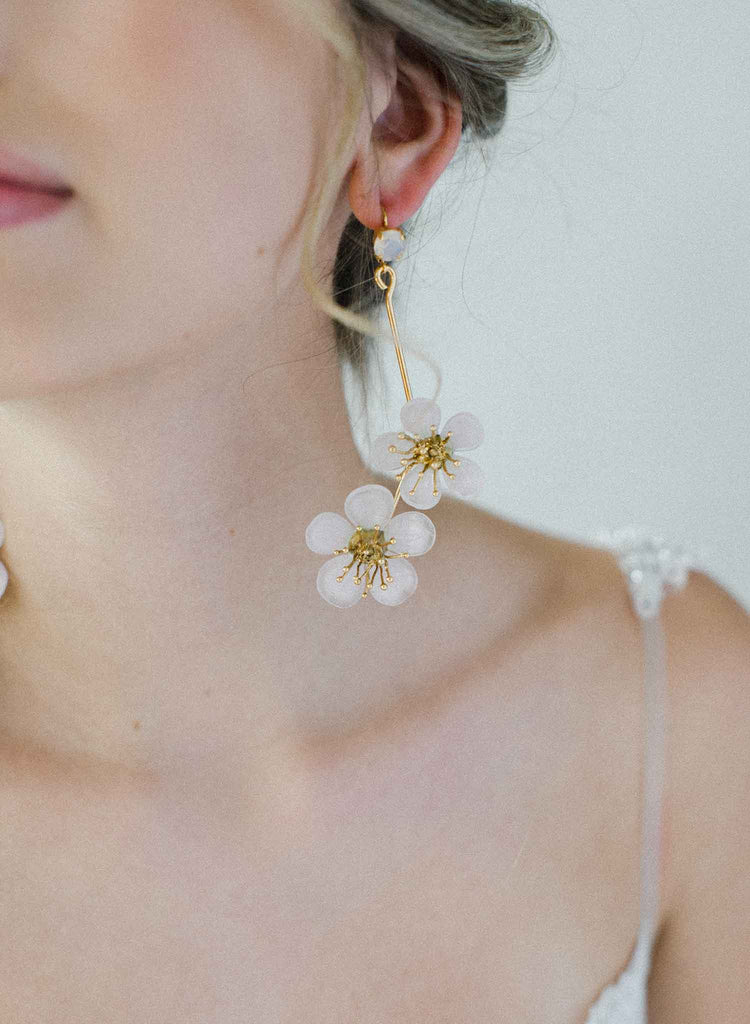 glass blown blush flower earrings, gold, cherry blossom, twigs and honey jewelry
