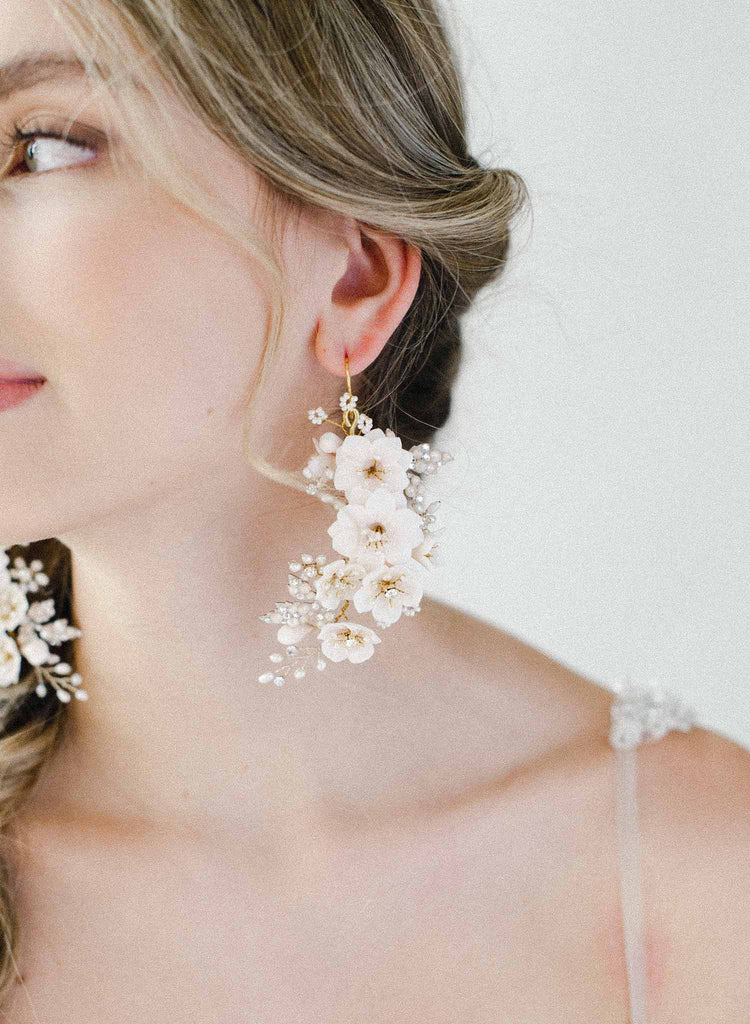 bridal handmade flower earrings, pearls, jewelry, twigs and honey