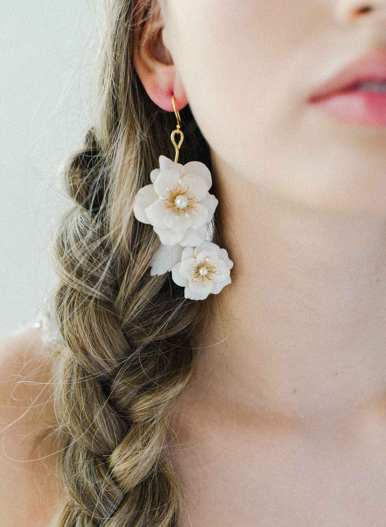 Rosey blossom asymmetrical earrings - Style #2035