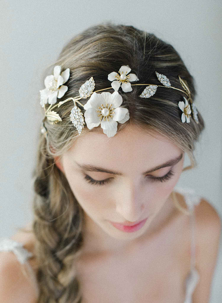 Regal enamel flower and crystal headpiece - Style #2036