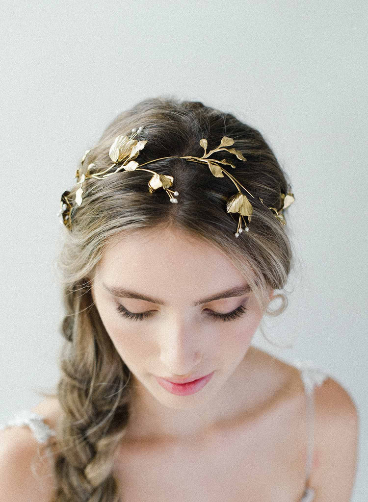 bridal floral modern headpiece, headband, weddings, twigs & honey