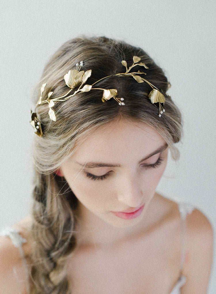 Winding bud and pearl branch headpiece - Style #2037