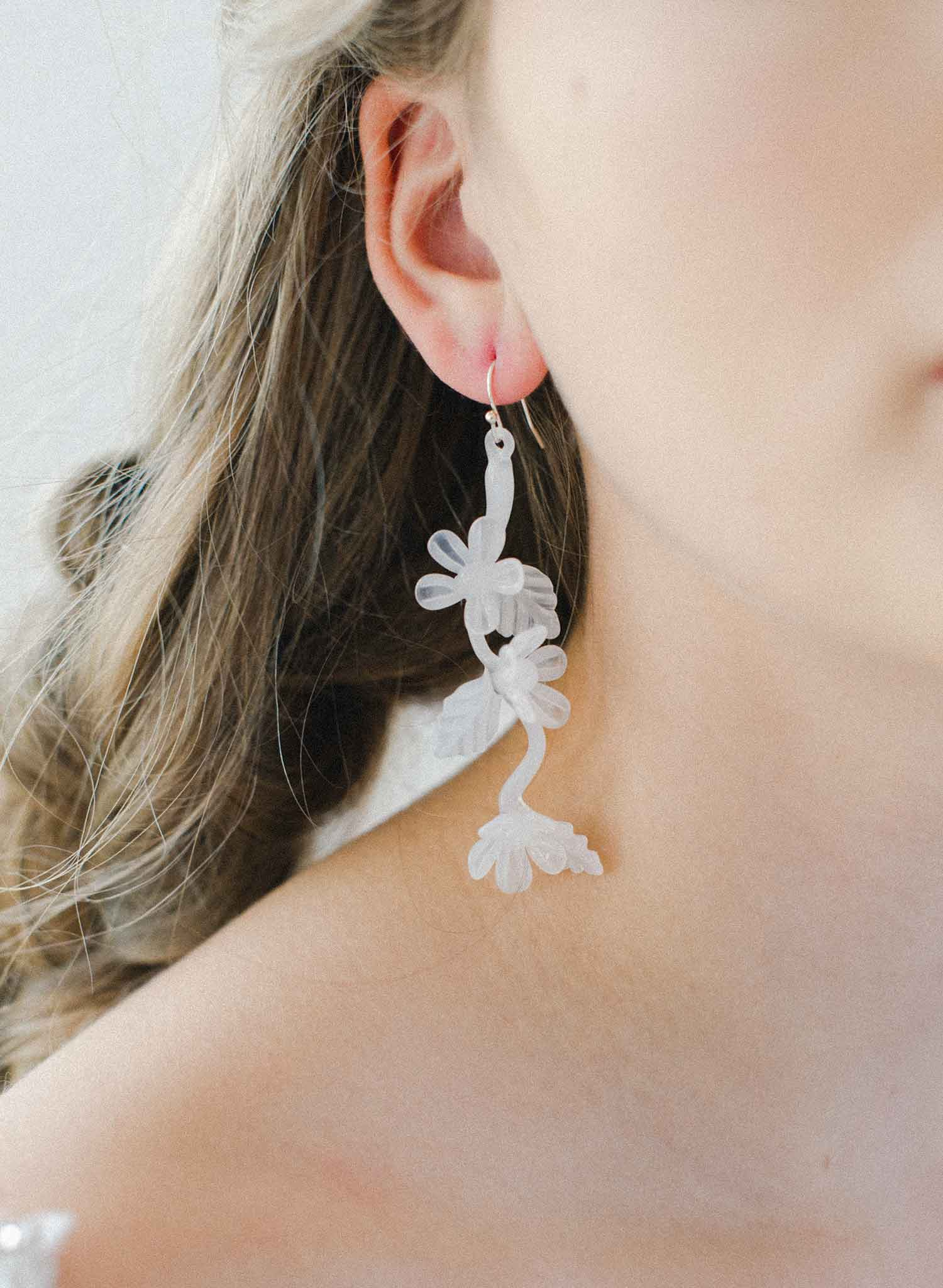 Milk glass twist drop earrings - Style #2039