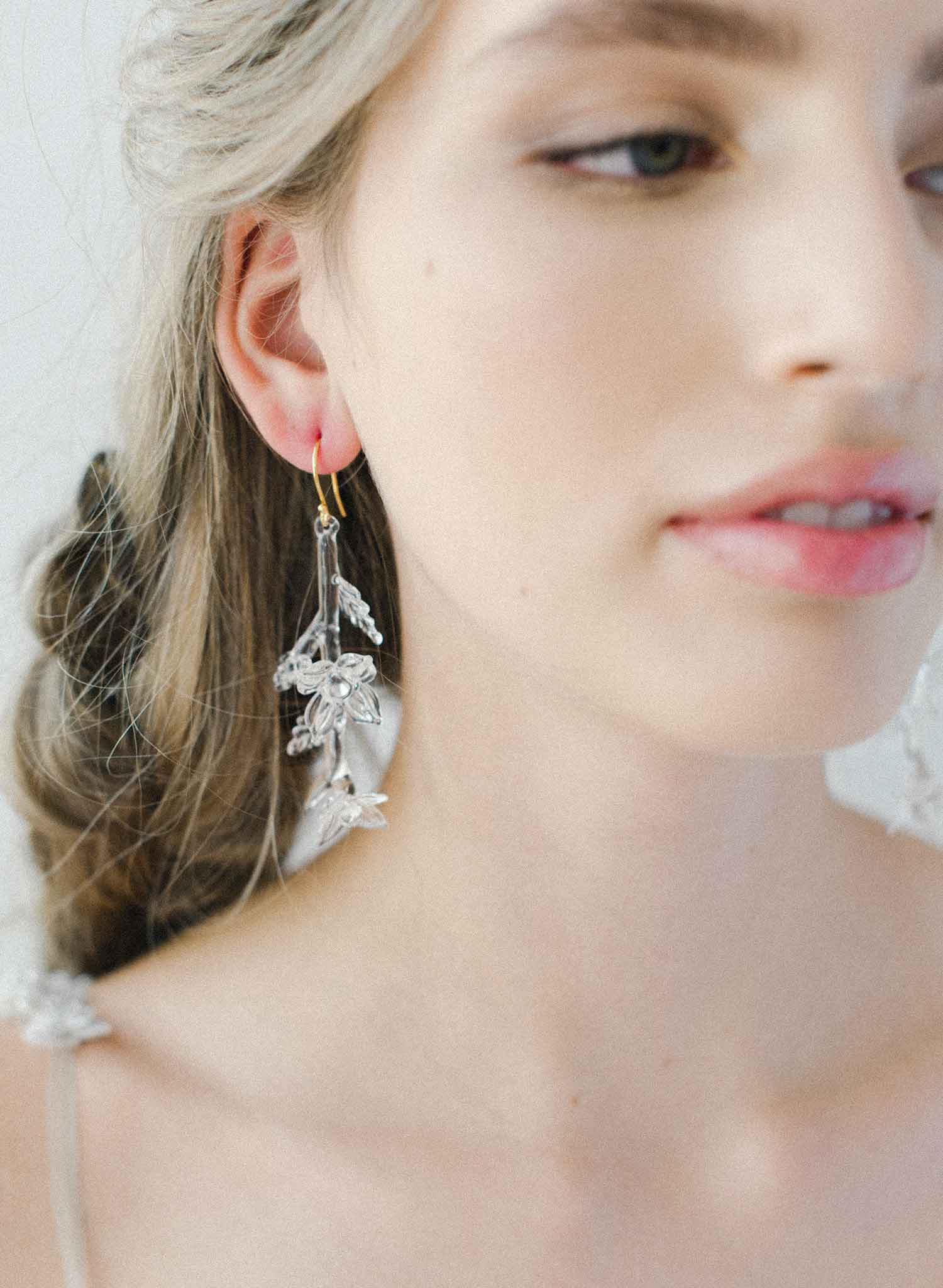 Icicle branch glass drop earrings - Style #2040