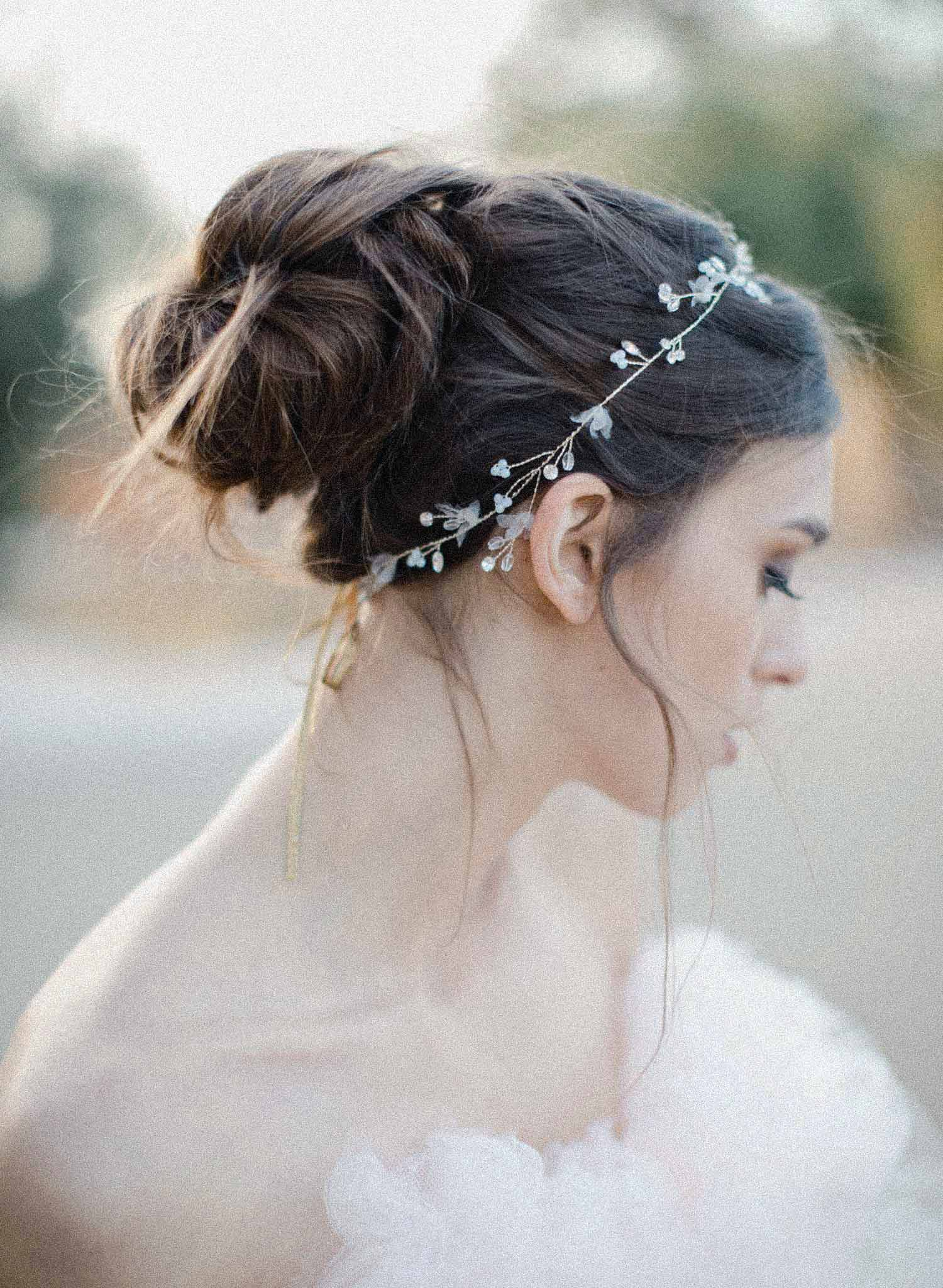 Daintiest crystal and blossom hair vine - Style #2041