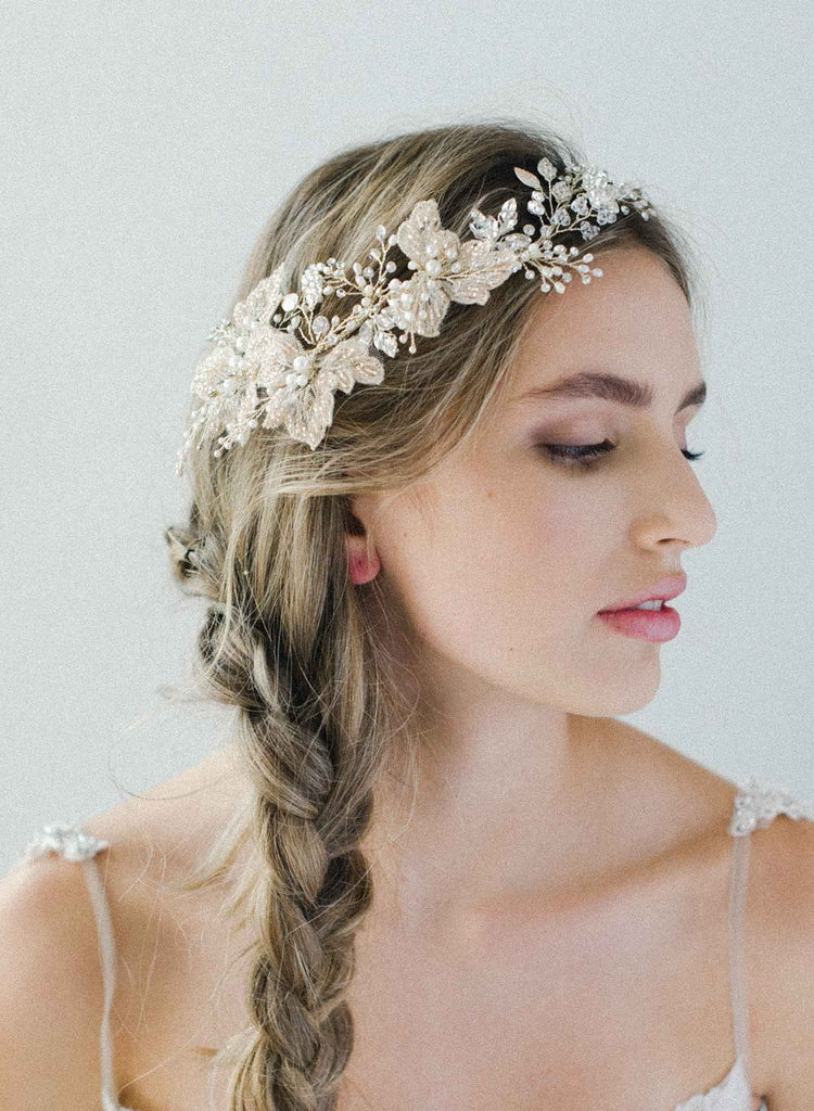 Lace flower and pearl headpiece - Style #2044