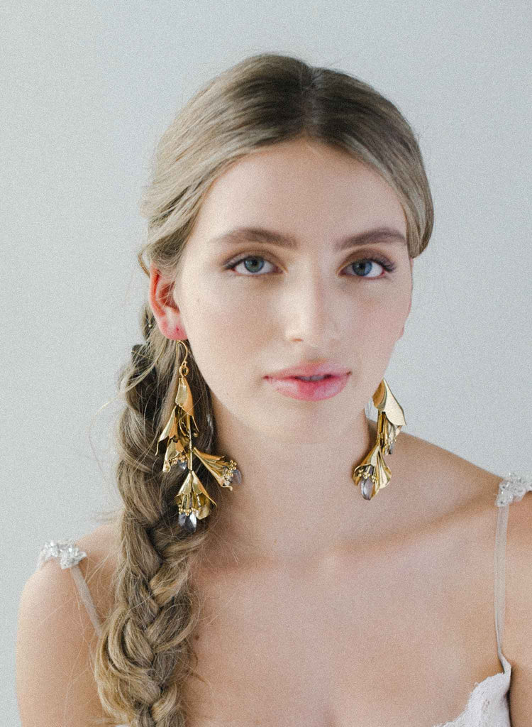 Modern florals and crystals earrings - Style #2045