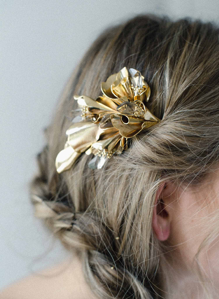 bridal floral modern hair comb, headpiece, twigs and honey