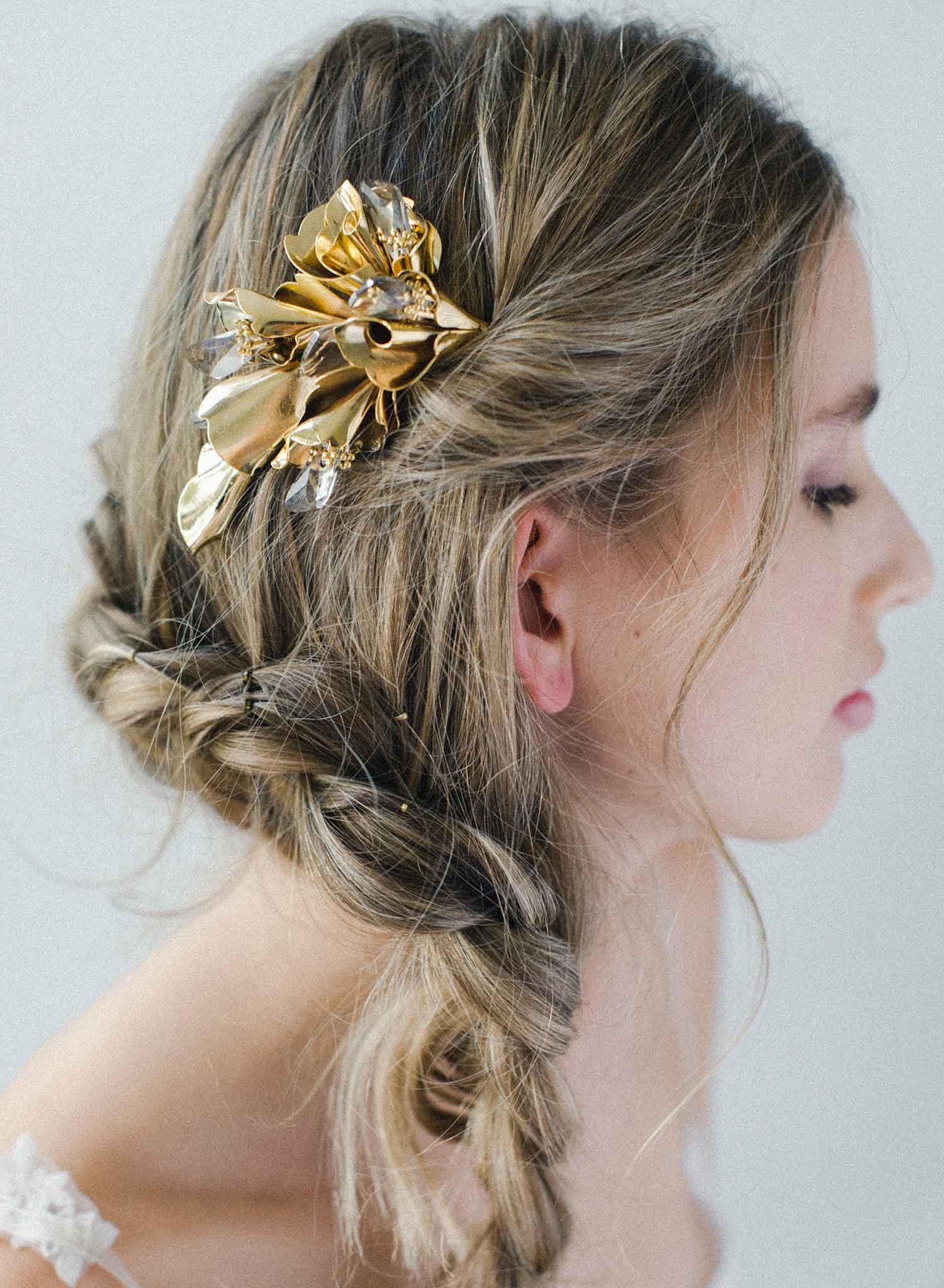 Modern florals and crystals hair comb - Style #2046