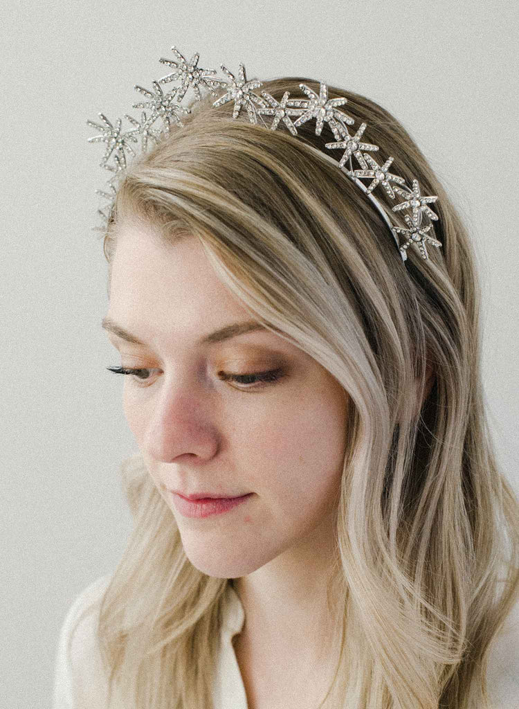 star tiara, crown, bridal headpiece, twigs and honey