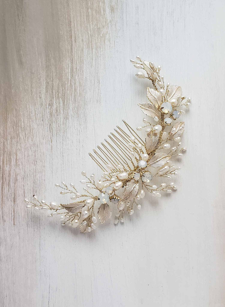 pearl hair comb, opal crystals, twigs & honey