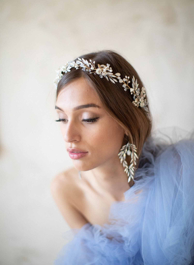 bridal opal crystal and pearl hair vine, twigs and honey