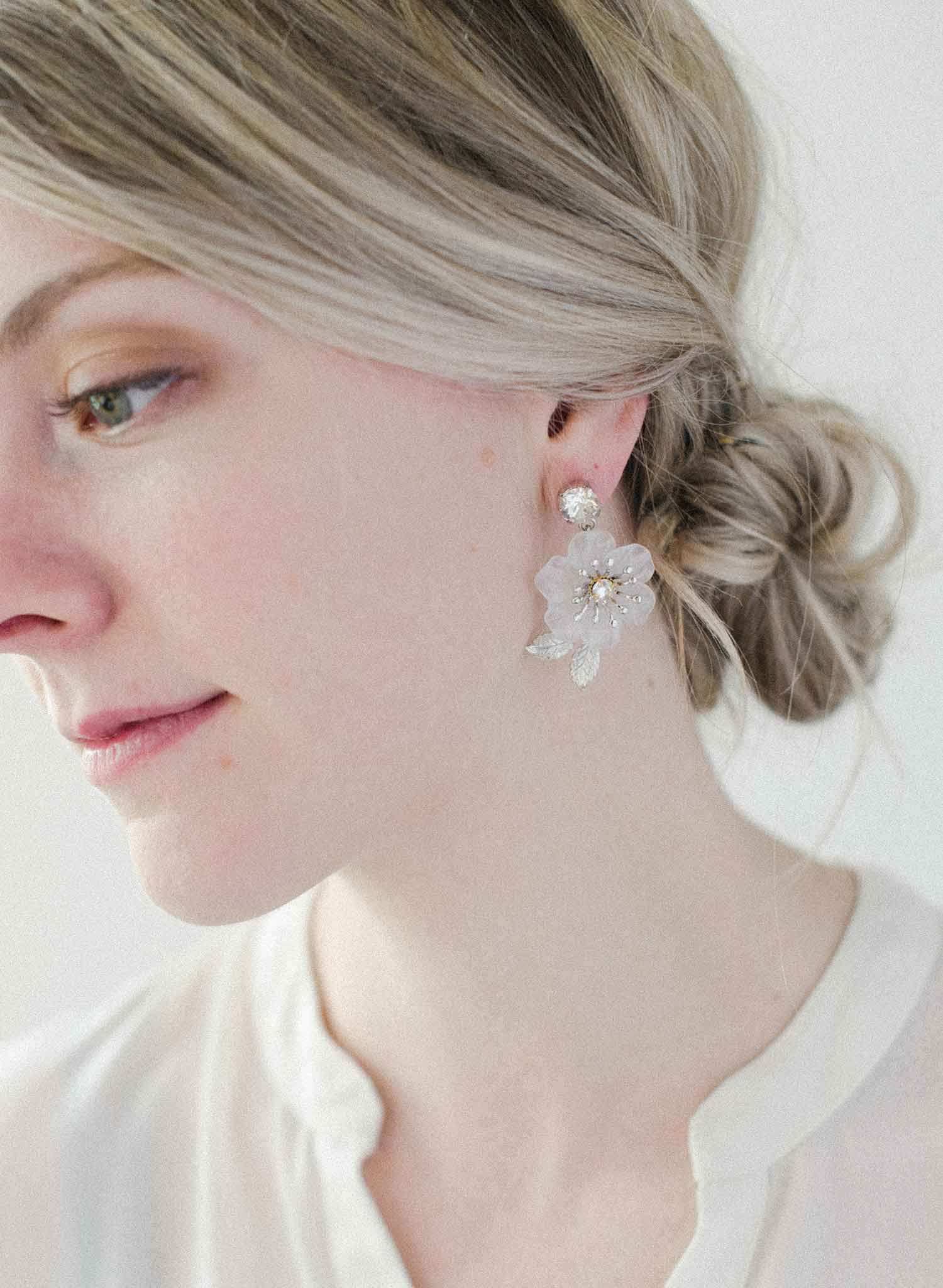 Milk glass dainty blossom earrings - Style #2057