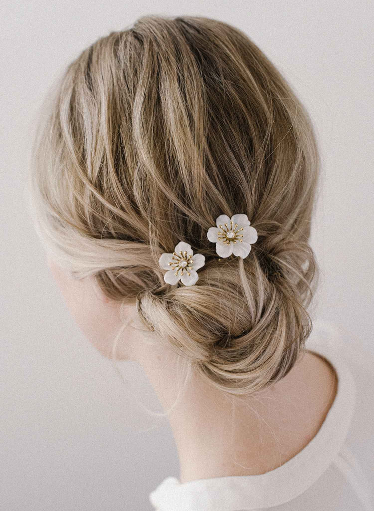 bridal glass flower hair pin set, twigs and honey