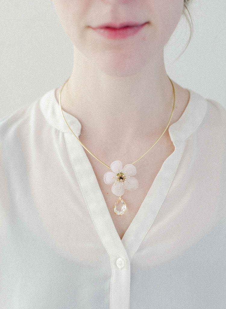 bridal glass flower necklace, wedding floral necklace jewelry, twigs and honey