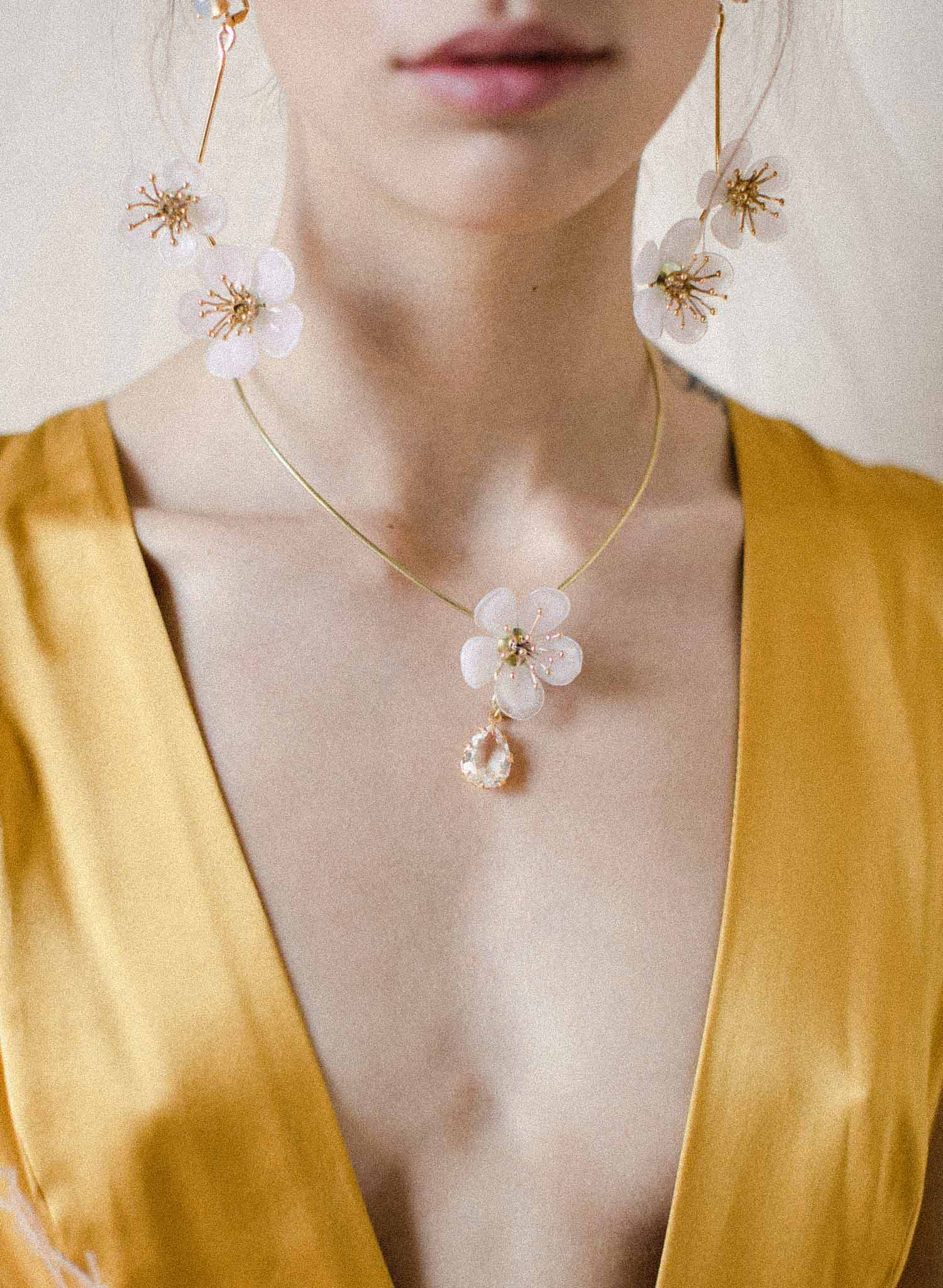 Plum blossom and drop crystal necklace - Style #2060