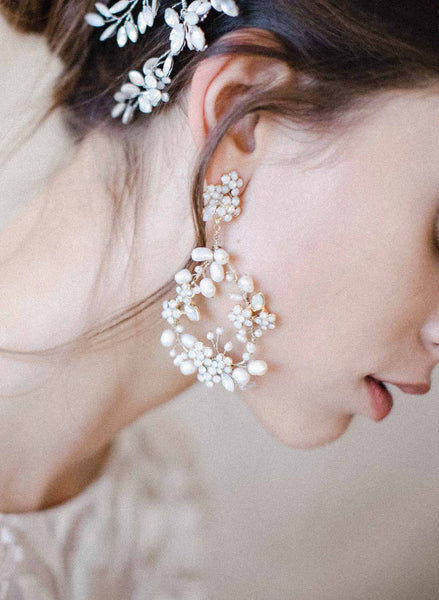 Baby's breath bridal pearl earrings