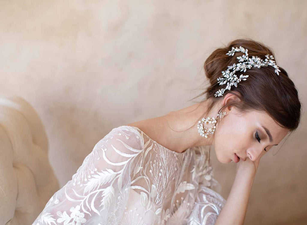 kora bhldn bridal earrings, chandelier, special occasion, pearl, twigs & honey