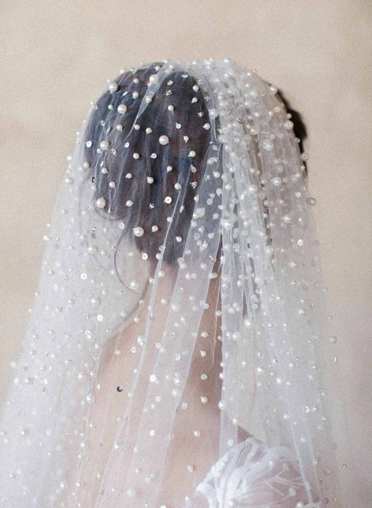 Pearl showers bridal train veil - Style #2065