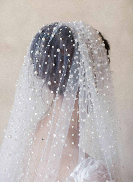 Pearl showers bridal train veil