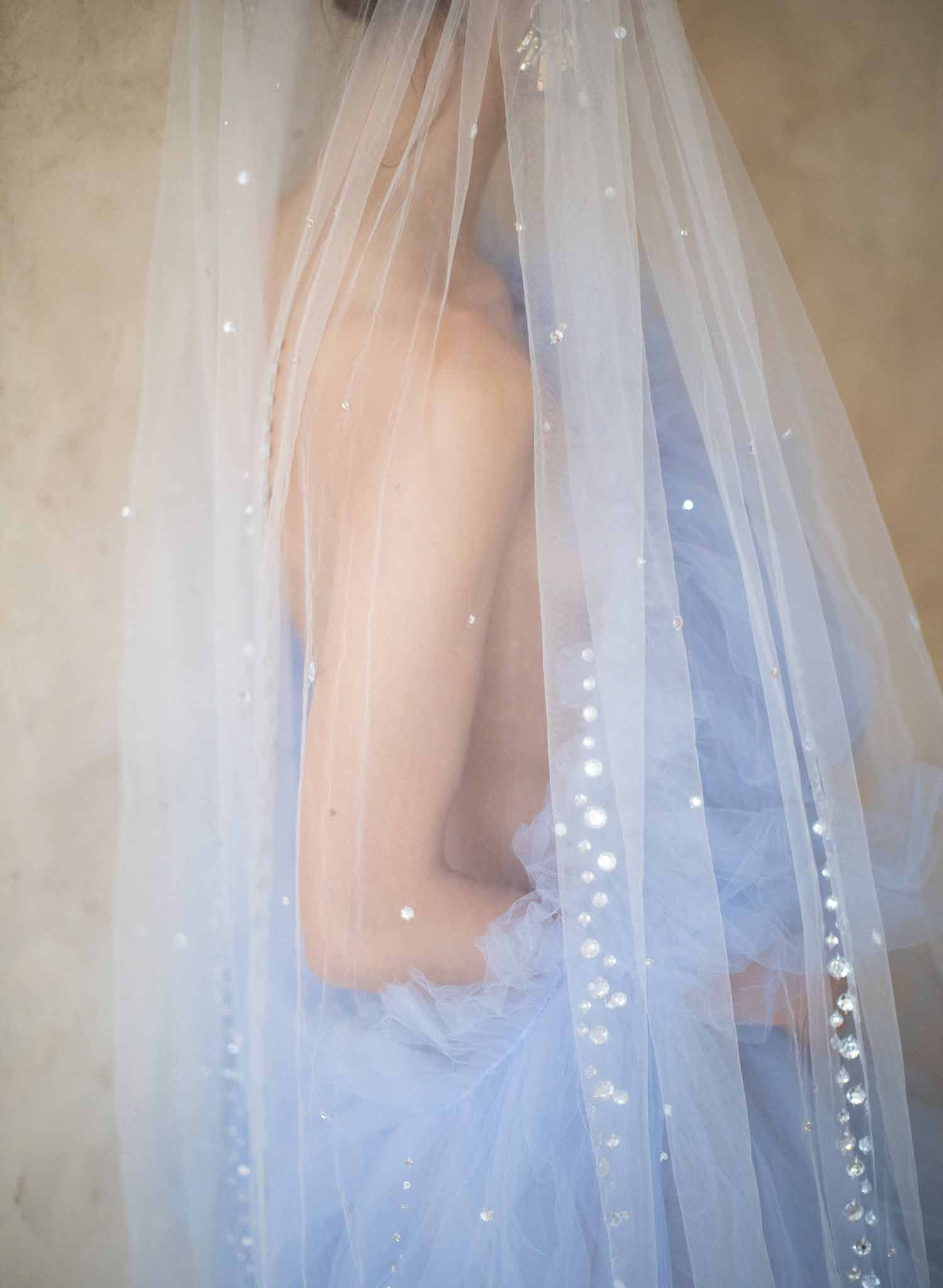 Crystal streamers bridal train veil - Style #2068